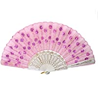 ROSENICE Hand Held Fans Women Sequin Decorated Folding Plastic Hand Fan Dance Fan(Pink)