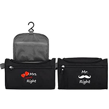 Mr Right Mrs Always Right Toiletry Travel Bag Set Couples His Hers Gifts for Wedding Anniversary Honeymoon or Housewarming By Let the Fun Begin