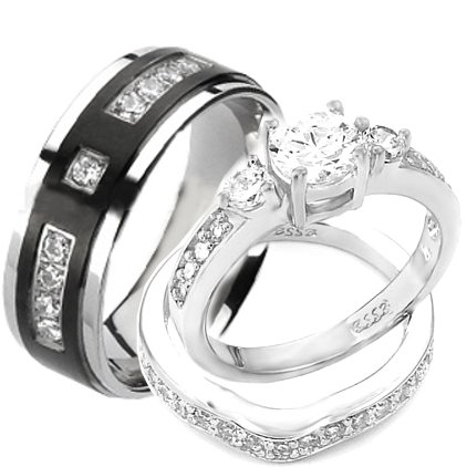 Buy Wedding rings set His and Hers TITANIUM & STAINLESS STEEL Engagement Bridal Rings set (Size Men
