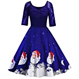 Soluo Vintage Christmas Dress for Women Short Sleeve Lace A-Line Party Costumes Fashion Printed Swing Dresses