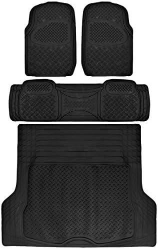 BDK 4 PC Ridged Heavy Duty Car Rubber Mats Black – Universal Fit, 2 Row + Trunk Cargo Mat, All Weather Proctection