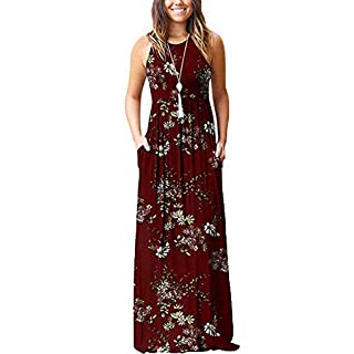 lantusi Women Casual O-Neck Sleeveless Floral Pleated Long Dress Dresses Wine Red