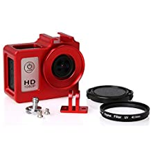 SJ4000 Aluminum Alloy Protective Case with 40.5mm UV Filter & Lens Protective Cap for SJCAM SJ4000 Series(Red)