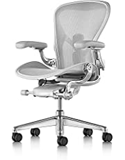 Herman Miller Aeron Ergonomic Office Chair with Tilt Limiter | Adjustable PostureFit SL and Arms | Medium Size B with Mineral/Polished Aluminum Finish…