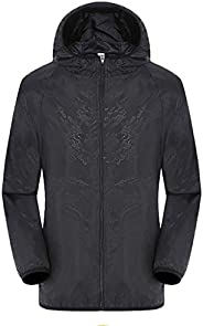QCool Unisex Cycling Running Jacket Lightweight Waterproof Windbreaker Bike Jacket Hooded Summer Long Sleeve T