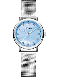 Women's Watch, Ladies Watches - VOEONS Luxury Blue Mother-of-Pearl Dial, Sliver Stainless Steel Mesh Band Wrist Watch
