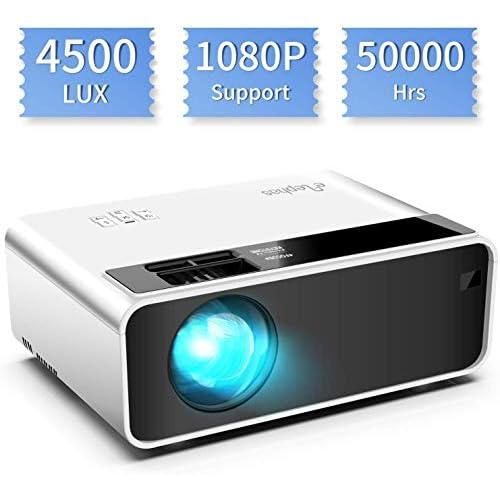 chollos oferta descuentos barato Mini proyector ELEPHAS Video Proyector 4500 Lux Proyector de Cine en casa portátil LED de Larga duración 1080P Compatible Compatible con PS4 PC a través de HDMI VGA TF AV y USB Black White