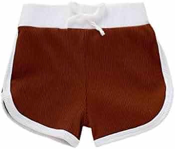 HimTak Kids Summer Shorts Boys Girls Solid Color Knitting Shorts Elastic Waist Sweatpants