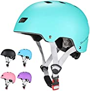 NESSKIN Skateboard Bike Helmet for Kids & Youth & Adults-ASTM & CPSC Certified Two Removable Liner