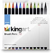 KINGART 444-12, Set of 12 Unique Colors Real Brush Pens, Assorted 12 Piece