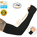 Bertte UV Sun Protection Cooling Arm Sleeves for Men Women Kids Outdoor Protective Compression Arm Cover Sleeves 1 Pair/2 Pairs