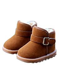DoMii Toddler Fashion Fur Lined Winter Snow Boots Anti-Slip Outdoor Boots