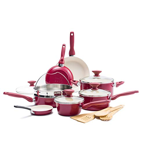 GreenPan Rio Healthy Ceramic Nonstick, Cookware Pots and Pans Set, 16-Piece, Red