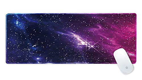 - Galdas Gaming Mouse Pad Galaxy Pattern XXL XL Large Mouse Pad Mat Long Extended Mousepad Desk Pad Non-Slip Rubber Mice Pads Stitched Edges Thin Pad (31.5x11.8x0.08 Inch)- Cosmic NebulaPixel Style