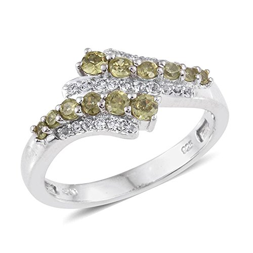Demantoid Garnet, White Topaz Platinum Plated Silver Bypass Gift Ring For Women 0.8 cttw Size 6