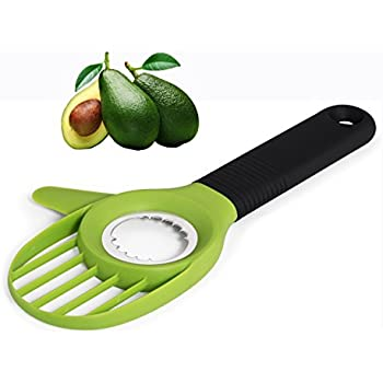 UNIQUEE 3-in-1 Avocado Tool Slicer Pitter Cutter Corer Peeler Skinner for Fruit with Comfort-Grip Silicone Handle (Green)