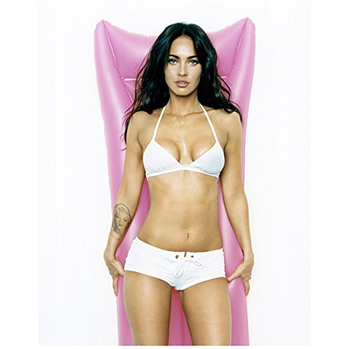 Megan Fox 8 Inch x10 Inch Photo Transformers Teenage Mutant Ninja Turtles Jennifer's Body White Bikini w/Boy Shorts Pink Floaty kn