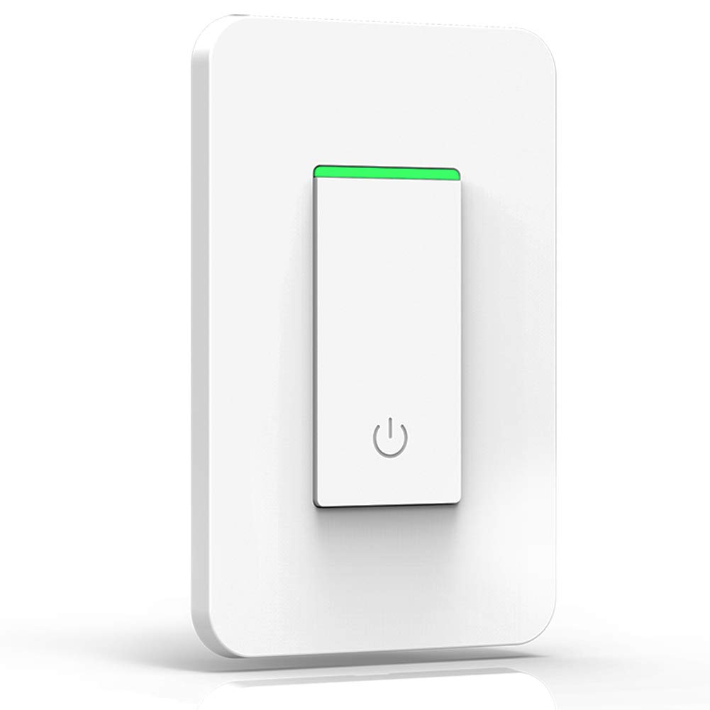 Smart Wifi Light Switch – with Timer and Mechanical Button Switch, Multi-person Control No Hub Required, Compatible with Amazon Alexa Echo Google Assistant IFTTT iOS Android Light Switch - One Way