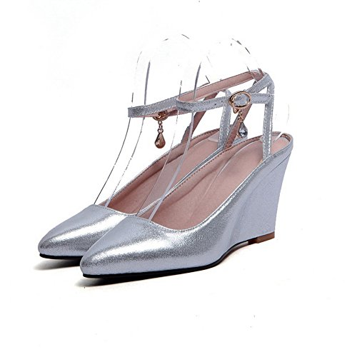 AllhqFashion Womens Buckle Closed Toe High Heels Pu Solid Sandals Silver Kl1AZZqci