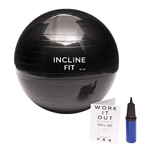 Incline Fit Yoga Stability Exercise Ball with Pump, Black, 65cm