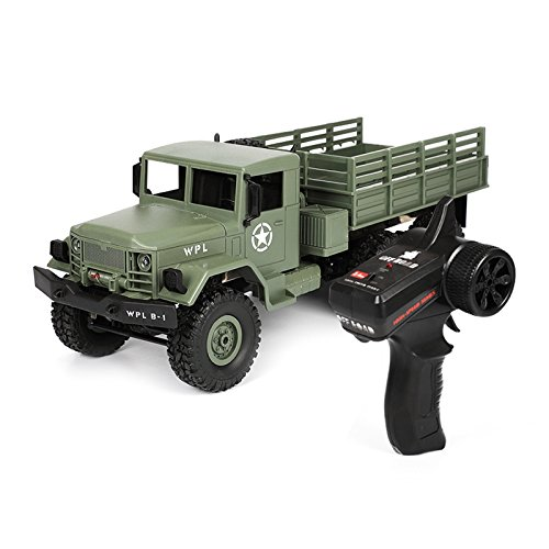 SODIAL 2018 New WPL B-16 1/16 2.4G 4WD Off-Road RC Military Truck Rock Crawler Army Car