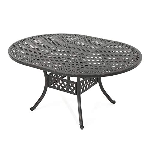 Great Deal Furniture 303677 Stone Island Outdoor Shiny Copper Finished Expandable Aluminum Dining Table,