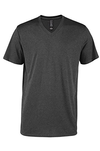 Casual Garb Men's V-Neck T Shirt Short Sleeve Tee T-Shirts for Men Elevate Series Charcoal Heather ()