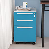 Merax 3 Drawer Mobile Metal Solid Storage File Cabinet with Keys, Blue