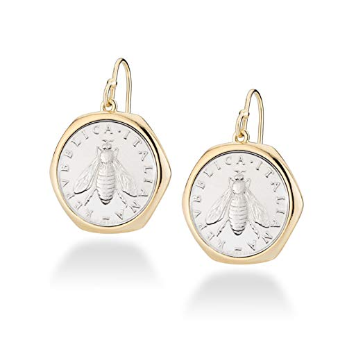 MiaBella 18K Gold Over Sterling Silver Italian Genuine 2 Lira Bee Coin Retro Dangle Drop Earrings for Women