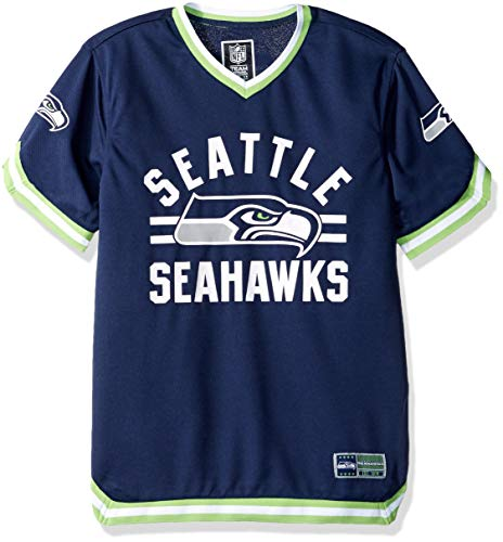 Icer Brands NFL Seattle Seahawks Men's Jersey T-Shirt V-Neck Mesh Stripe Tee Shirt, Large, Navy - Navy Blue Stadium T-shirt