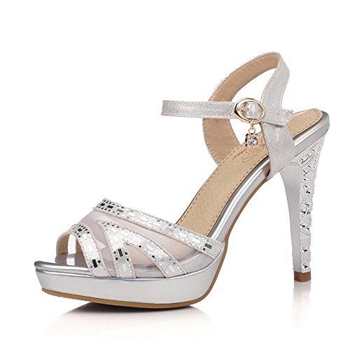 AllhqFashion Womens Buckle High-Heels Blend Materials Solid Peep Toe Sandals Silver m2ooRz