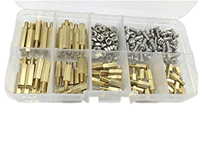 HVAZI 210pcs M3 Male Female Brass Spacer Standoff/Stainless Steel Screw/Nut Assortment Kit