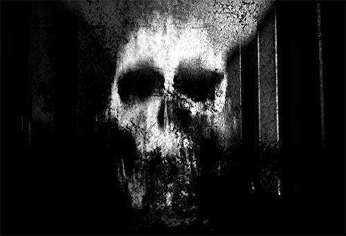 AOFOTO 10x8ft Abstract Skull Face Background Cloth Vinyl Grunge Black Painting Wall Horror Halloween Night Photography Backdrop Poster Hallowmas Party Decorations Photo Booth Props -