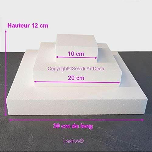 Lealoo Kleine poliestireno Cuadrados Dummy de Tarta Base 30/cm hasta 10/cm de Longitud 12/cm Altura Total Alta Densidad de Material