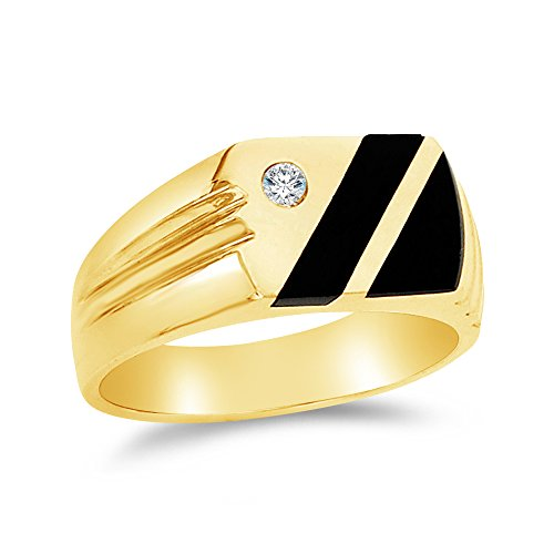 Size - 9.5 - 14k Yellow Gold Black Onyx Men's with CZ Cubic Zirconia Ring