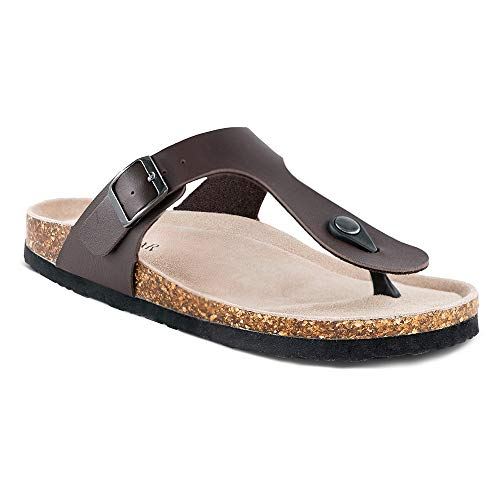 (TF STAR Women's Thong Flip Flop Flat Casual Cork Sandals with Buckle Strap,Leather Cork Gizeh Sandals for Women/Girls/Ladies Brown)