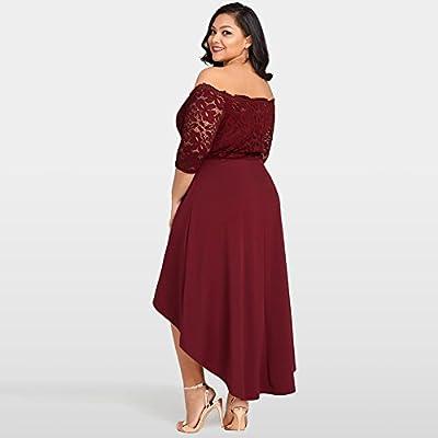 Jose Pally Women's Plus Size Lace Maxi Dress Off Shoulder Vintage Floral 3/4 Sleeve Dresses for Cocktail