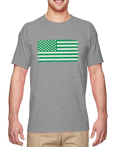 Clover American Flag - USA Irish Shamrock Men's T-Shirt (Light Gray, Large)