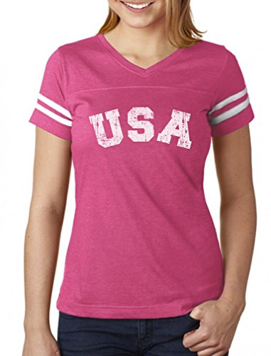 (4th of July USA Vintage Retro Style American Women Football Jersey T-Shirt X-Large Pink/White)