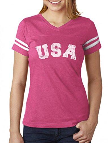 USA 4th of July Shirt for Women Patriotic Retro American Football Jersey Tshirt Large ()