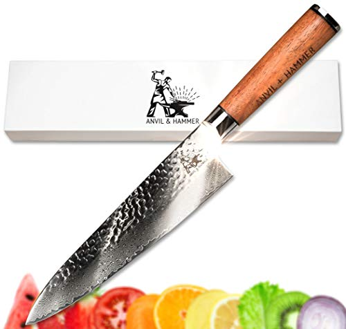Sleek Form Fitting - Damascus Chef Knife Japanese Gyuto | 67 Layer Stainless Steel | VG-10 | 8 Inch | High End, Sustainably Sourced African Rosewood handle Presented in Gorgeous Gift Box | Great Gift