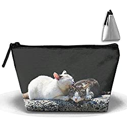 Cosmetic Bag with Zipper Cats Couple Tenderness Care Spring Toiletry/Travel Bag for Brushes Jewelry