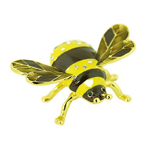 Bumblebee Bejeweled Hinged Trinket Box, Keepsake Pill Box and Decor (Pill Box Trinket Jewelry)