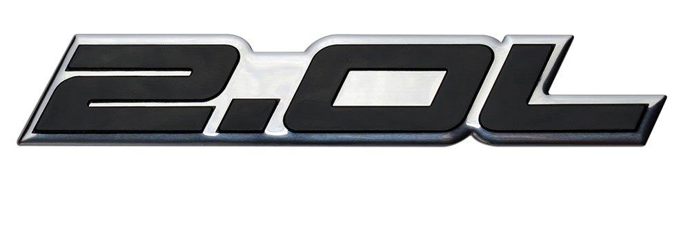 2.0L Liter Embossed BLACK on Highly Polished Silver Real Aluminum Auto Emblem Badge Nameplate for Ford Edge Escape SEL Escort Explorer Focus SE SES ZX3 ...