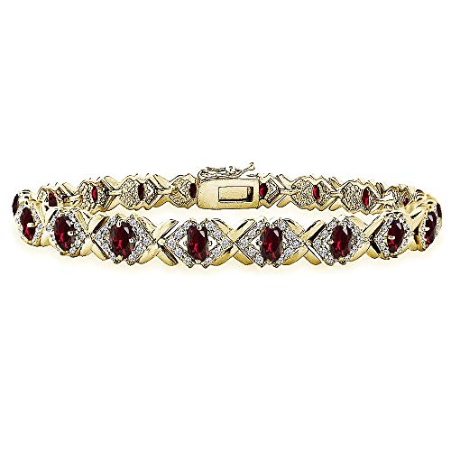 Yellow Gold Flashed Sterling Silver Created Ruby Oval X Design Polished Tennis ()