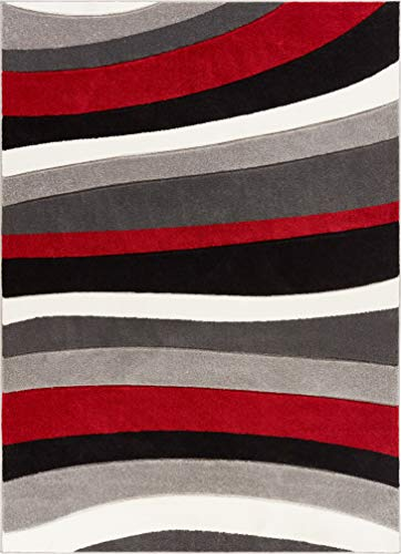 Well Woven Temptation Waves & Stripes Red, Grey, Ivory Modern 5x7 (5'3