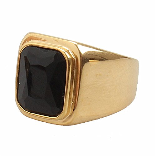 PMTIER Men's Stainless Steel Gold Plated Ring with Square Black Gem Stone Size 7