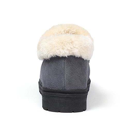 Fur Women Fur Slippers Moccasins Faux Lined Ankle faux Boots Grey Booties House Winter Suede Outdoor HKR Indoor qEUdwZq