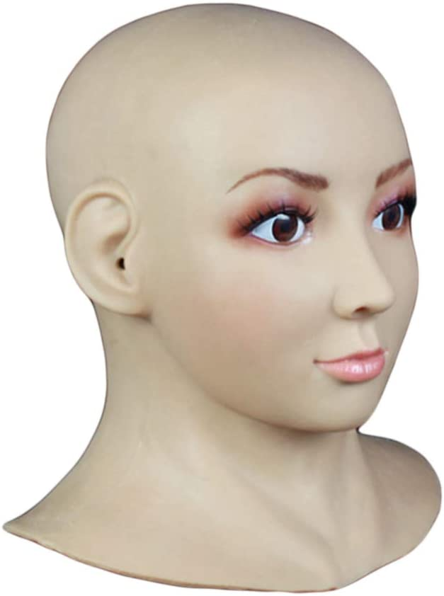 QQA Soft Silicone Realistic Hand-Made Face Female Head Mask Male to Female Cosplay Headwear for Crossdresser Transgender