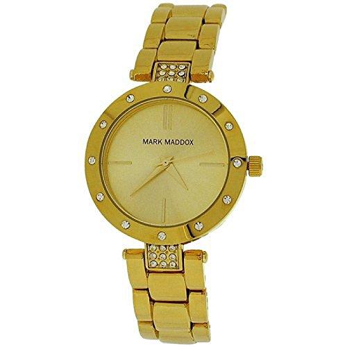 Mark Maddox Ladies Goldtone Round Analogue Dial Bracelet Strap Watch MF3003-97